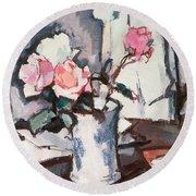 Pink Roses Round Beach Towel by Samuel John Peploe