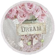 Shabby Chic Dreamy Pink Roses - Cottage Chic Pink Romantic Roses In Jar  - Dream Roses Round Beach Towel