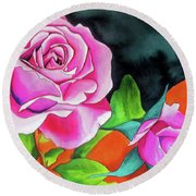 Pink Roses With Orange Round Beach Towel