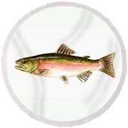 Pink Salmon Round Beach Towel