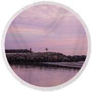 Pink Skies At Dawn Round Beach Towel
