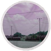 Pink Sky And Trains Round Beach Towel