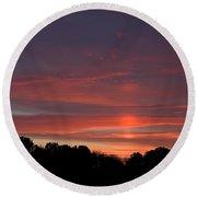 Pink Sky At Sunrise Round Beach Towel