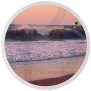 Pink Sky Dawn Round Beach Towel