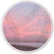 Pink Sky Over Allerton Hill November 9 2016 Round Beach Towel