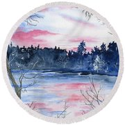 Pink Sky Reflections Round Beach Towel