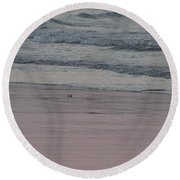 Pink Sky Reflections In The Sand Round Beach Towel