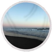 Pink Skyline Round Beach Towel