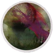 Pink Song Round Beach Towel by Richard Ricci