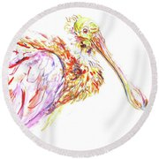 Pink Spoonbill Round Beach Towel