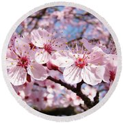 Pink Spring Blossoms Art Print Blue Sky Landscape Baslee Troutman Round Beach Towel