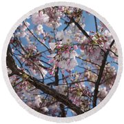 Pink Spring Blossoms Round Beach Towel