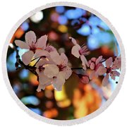 Pink Spring Flowers Round Beach Towel