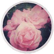 Pink Summer Roses Round Beach Towel