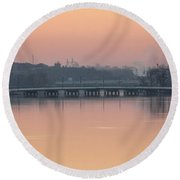 Pink Sunrise Over The Rock River Round Beach Towel