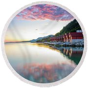 Pink Sunset Over A Lagoon In Norway Round Beach Towel