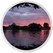 Pink Sunset Panorama With Black Framing Round Beach Towel