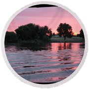 Pink Sunset With Soft Waves In Black Framing Round Beach Towel