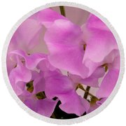 Pink Sweetpeas Round Beach Towel