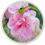 Pink Swirl Garden Round Beach Towel by Shelley Irish