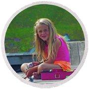 Pink Tackle Box Round Beach Towel