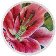 Pink Tiger Lily Round Beach Towel