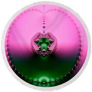 Pink Topaz And Emerald Green Necklace Fractal Round Beach Towel