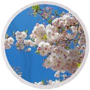 Pink Tree Blossoms Art Prints 55 Spring Flowers Blue Sky Landscape  Round Beach Towel