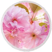 Pink Tree Blossoms Art Prints Spring Blossoms Baslee Troutman Round Beach Towel
