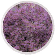 Pink Tree Round Beach Towel