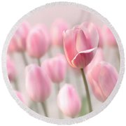 Pink Tulip Cloud Round Beach Towel