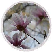 Pink Tulip Magnolias Round Beach Towel