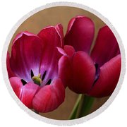 Pink Tulip Pair Round Beach Towel