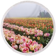 Pink Tulips And Tractor Round Beach Towel