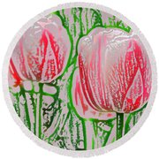 Pink Tulips With Block Effect Round Beach Towel