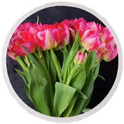 Pink Tulips On Black Round Beach Towel