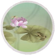 Pink Water Lily And Frog Round Beach Towel