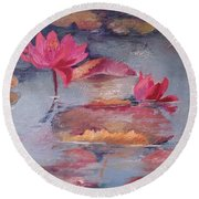 Pink Waterlilies Round Beach Towel