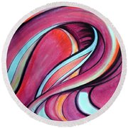 Pink Wave Of Energy. Abstract Vision Round Beach Towel