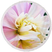 Pink White Dahlia Flower Soft Pastels Art Print Canvas Baslee Troutman Round Beach Towel