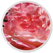 Pink White Roses Floral Art Prints Rose Baslee Troutman Round Beach Towel