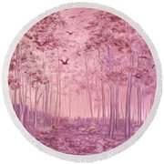 Pink Woods Round Beach Towel