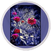 Pink Zinnia's Against A Silver Background Round Beach Towel