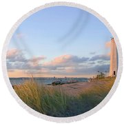 Pinkish Lighthouse Round Beach Towel