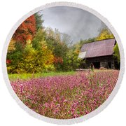 Pinks In The Pasture Round Beach Towel