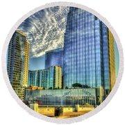 Pinnacle Building Sunset Nashville Shadows Nashville Tennessee Art Round Beach Towel