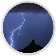 Pinnacle Peak Lightning  Round Beach Towel by James BO  Insogna