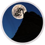Pinon Pine And Moon Zion National Park  Round Beach Towel