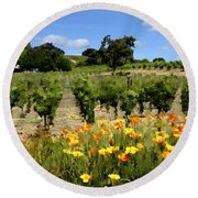 Pinot Noir And Poppies Round Beach Towel