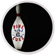Pins And Cues Round Beach Towel